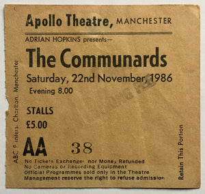 Communards Original Used Concert Ticket Apollo Theatre Manchester 22nd Nov 1986