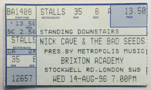 Nick Cave & The Bad Seeds Original Used Concert Ticket Brixton Academy London 14th August 1996
