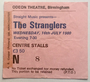 Stranglers Original Used Concert Ticket Odeon Theatre Birmingham 16th July 1980