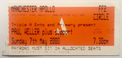 Paul Weller Original Used Concert Ticket Manchester Apollo 7th May 2000