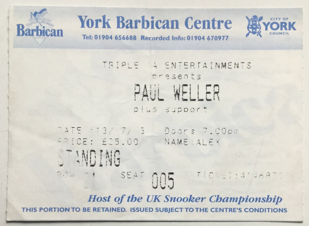 Paul Weller Original Used Concert Ticket Barbican Centre York 13th July 2003