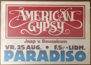 American Gypsy Original Concert Tour Gig Poster Paradiso Club Amsterdam 25th Aug 1978