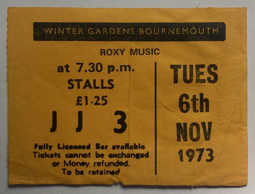 Roxy Music Original Used Concert Ticket Winter Gardens Bournemouth 6th Nov 1973