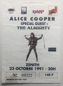 Alice Cooper Original Used Concert Ticket Zenith Paris 23rd Oct 1991