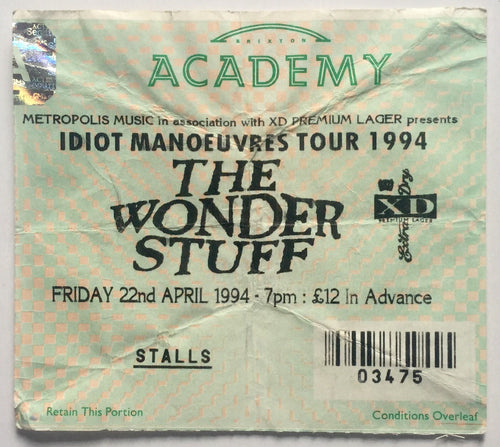 Wonder Stuff Original Used Concert Ticket Brixton Academy London 22nd Apr 1994