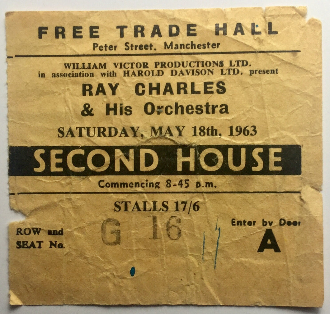 Ray Charles Original Used Concert Ticket Free Trade Hall Manchester 18th May 1963