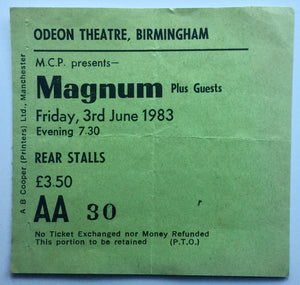Magnum Original Used Concert Ticket Odeon Theatre Birmingham 3rd June 1983