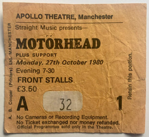 Motörhead Original Used Concert Ticket Apollo Theatre Manchester 27th Oct 1980