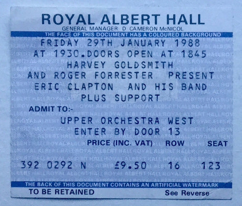 Eric Clapton Original Used Concert Ticket Royal Albert Hall London 29th Jan 1988
