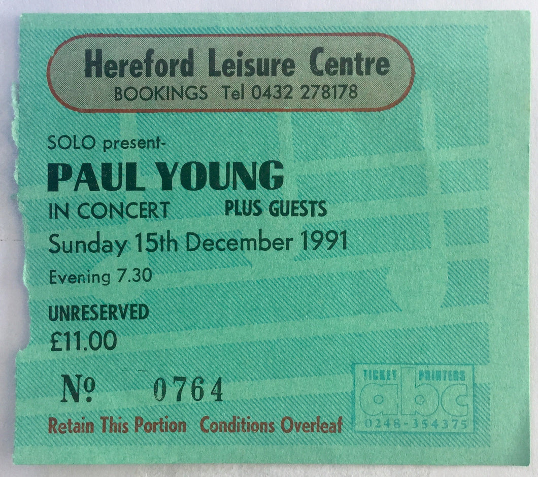 Paul Young Original Used Concert Ticket Hereford Leisure Centre 15th Dec 1991