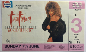 Tina Turner Original Concert Ticket NEC Birmingham 7th June 1987