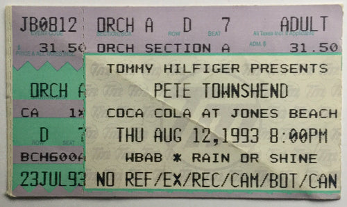 Who Pete Townshend Original Used Concert Ticket Jones Beach Theater Wantagh 12th Aug 1993