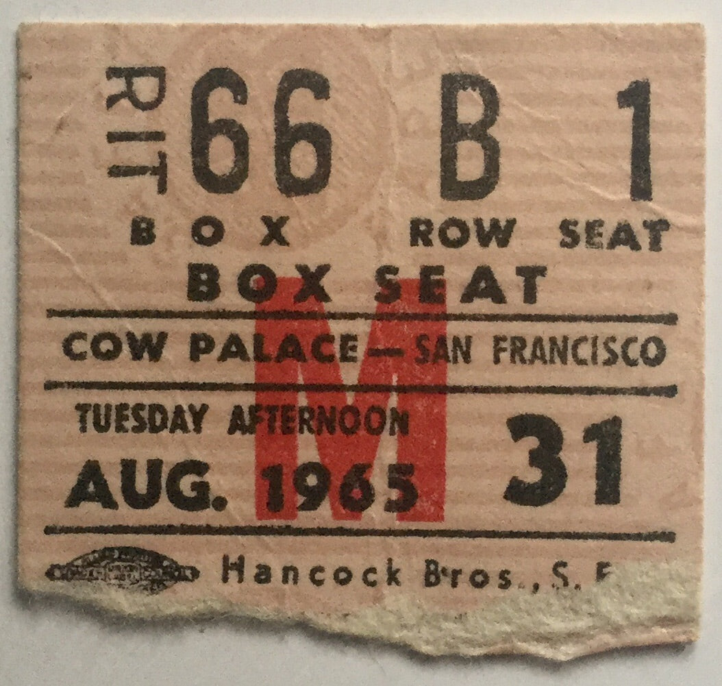 Beatles Original Used Concert Ticket Cow Palace San Francisco 31st Aug 1965