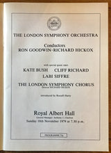 Load image into Gallery viewer, Kate Bush Cliff Richard Original Concert Musical Programme Royal Albert Hall London 18th November 1979