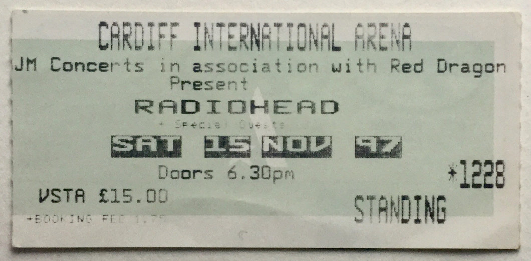 Radiohead Original Used Concert Ticket Cardiff International Arena 15th Nov 1997