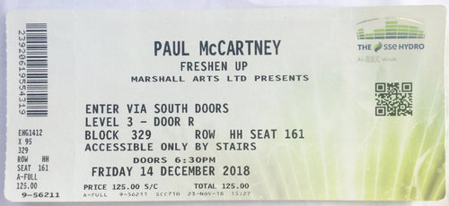 Beatles Paul McCartney Used Concert Ticket SSE Hydro Glasgow 14th Dec 2018