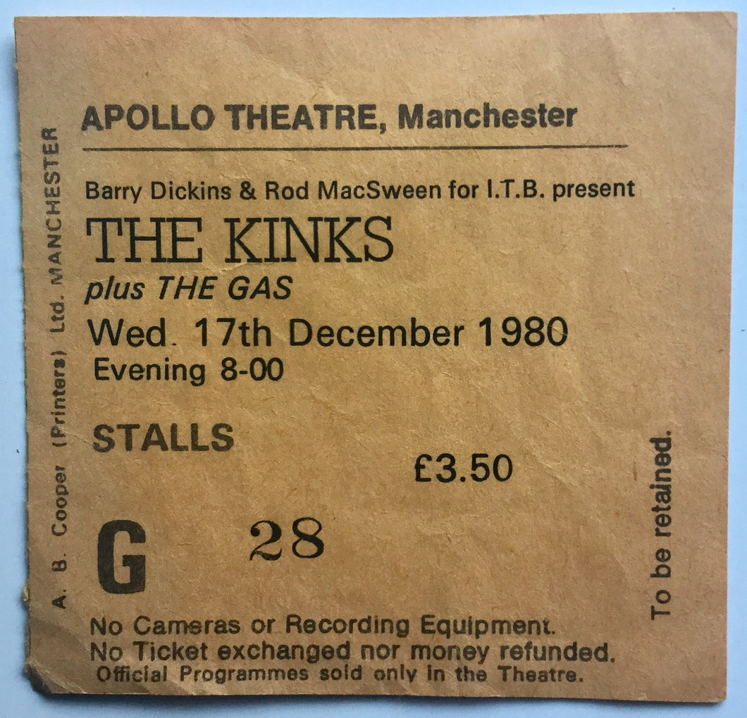 Kinks Original Used Concert Ticket Apollo Theatre Manchester 17th December 1980