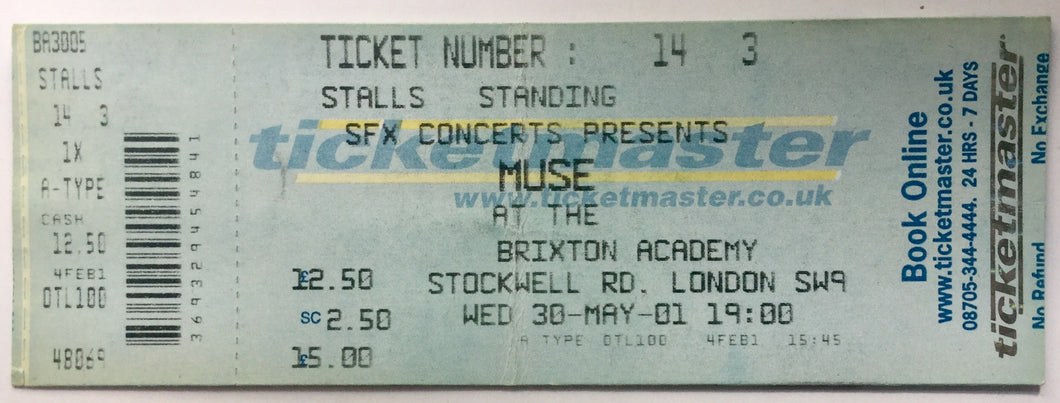 Muse Original Concert Ticket Brixton Academy London 30th May 2001