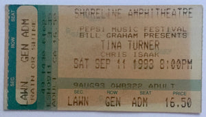Tina Turner Original Used Concert Ticket Shoreline Amphitheatre Mountain View 11th Sept 1993