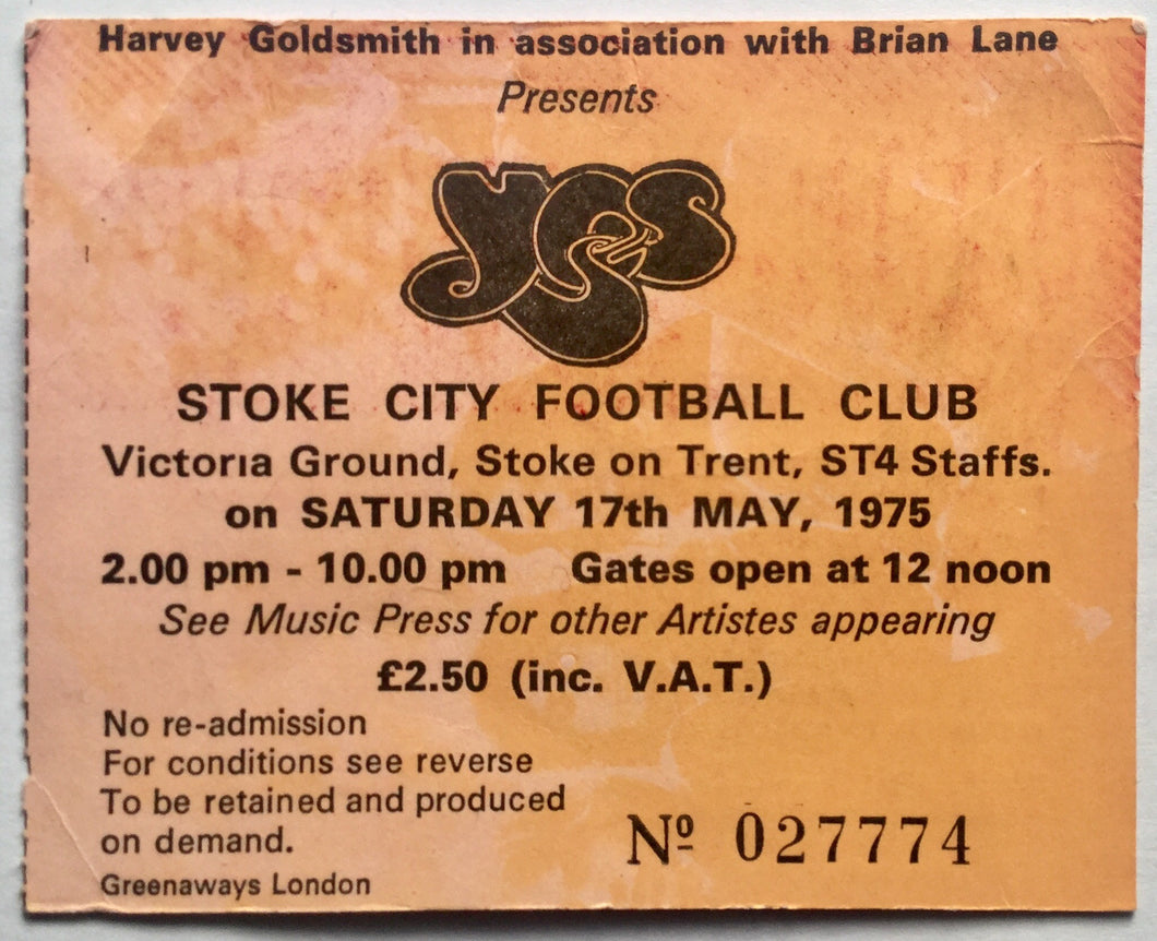 Yes Original Used Concert Ticket Stoke City Football Ground 17th May 1975