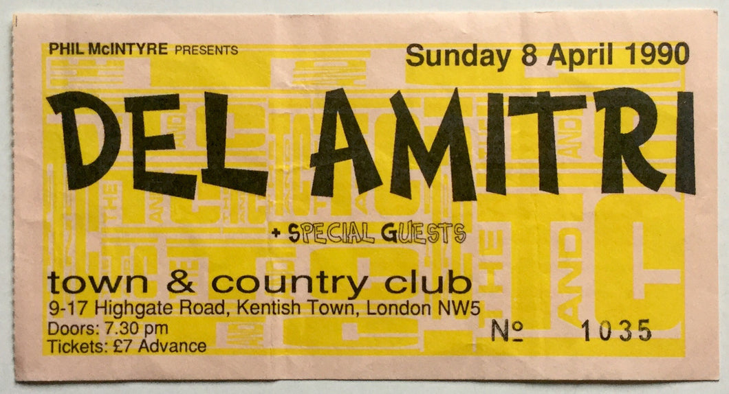 Del Amitri Original Used Concert Ticket Town & Country Club London 8th Apr 1990