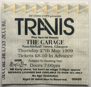 Travis Original Used Concert Ticket The Garage Glasgow 27th May 1999