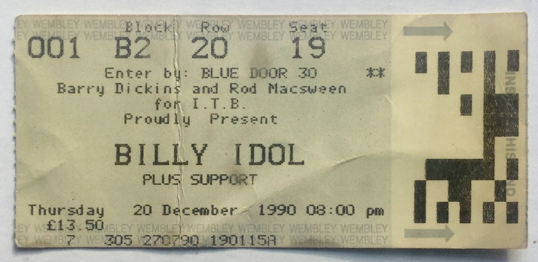 Billy Idol Original Used Concert Ticket Wembley Arena London 20th Dec 1990