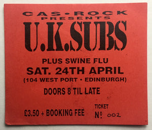U.K. Subs Original Concert Ticket Cas Rock Cafe Edinburgh 24th Apr 1993