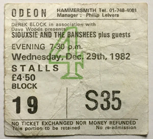 Siouxsie and the Banshees Original Used Concert Ticket Hammersmith Odeon London 29th Dec 1982
