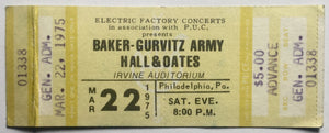 Baker-Gurvitz Army Original Unused Concert Ticket Irvine Auditorium Philadelphia 22nd Mar 1975