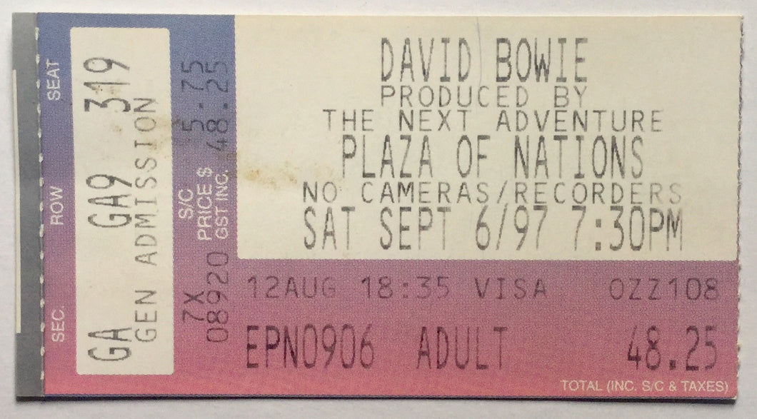 David Bowie Original Used Concert Ticket Plaza of Nations Vancouver 6th Sept 1997