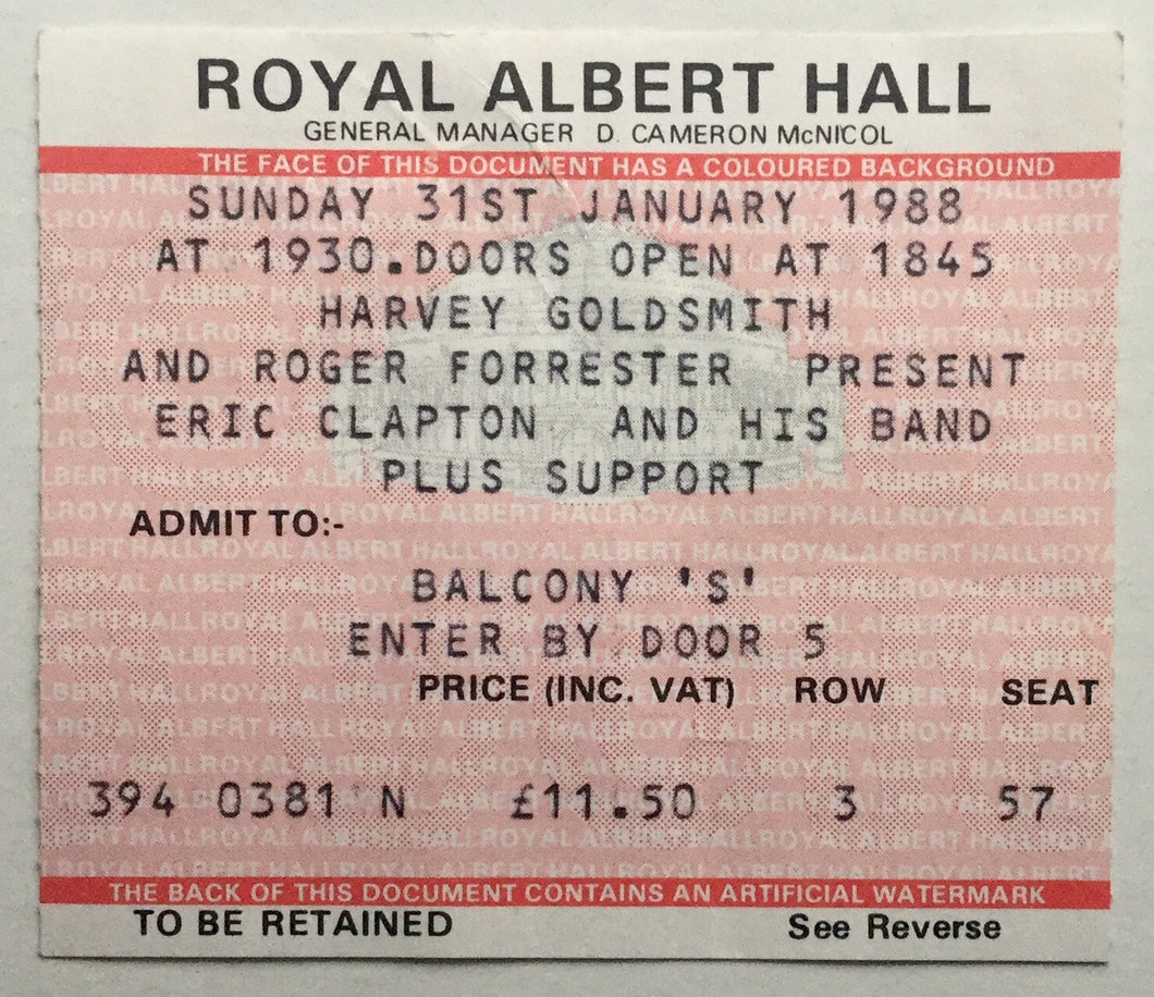 Eric Clapton Original Used Concert Ticket Royal Albert Hall London 31st Jan 1988