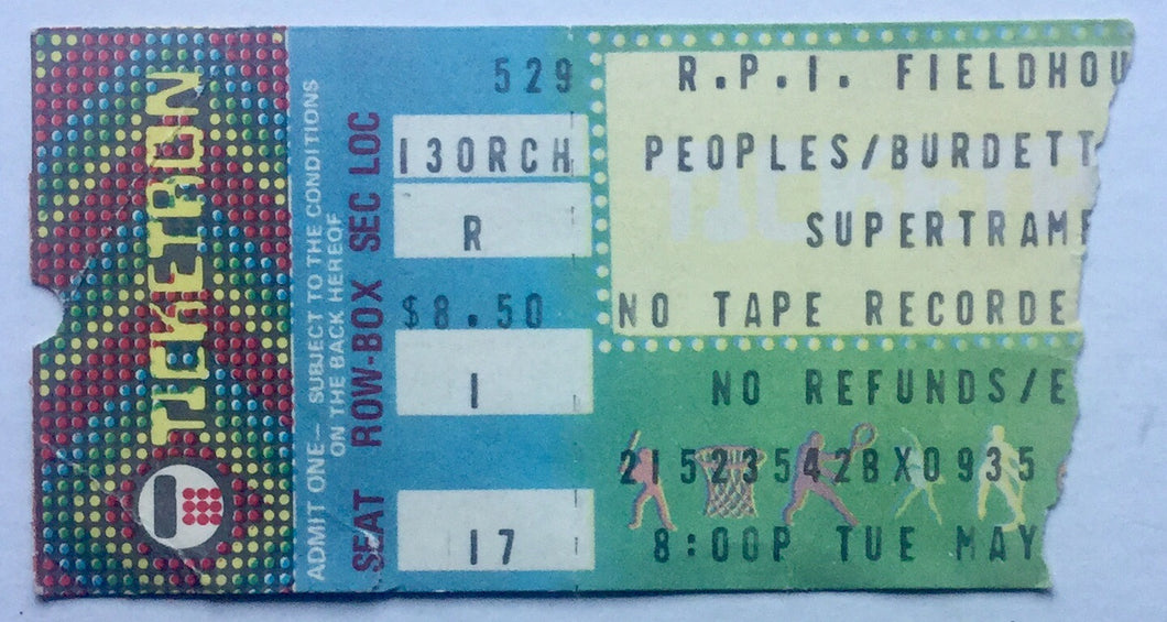 Supertramp Original Used Concert Ticket R.P.I. Fieldhouse Troy 29th May 1979