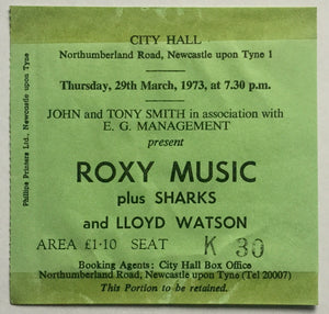 Roxy Music Original Used Concert Ticket City Hall Newcastle 29th Mar 1973
