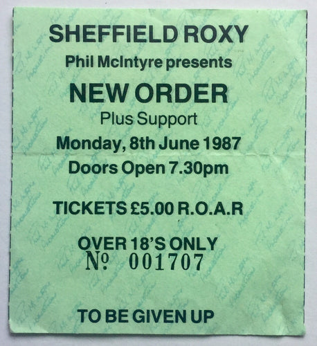 New Order Original Used Concert Ticket The Roxy Sheffield 8th June 1987