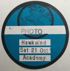 Hawkwind  Unused Blue Concert Backstage Pass Ticket Brixton Academy London 21st Oct 1995