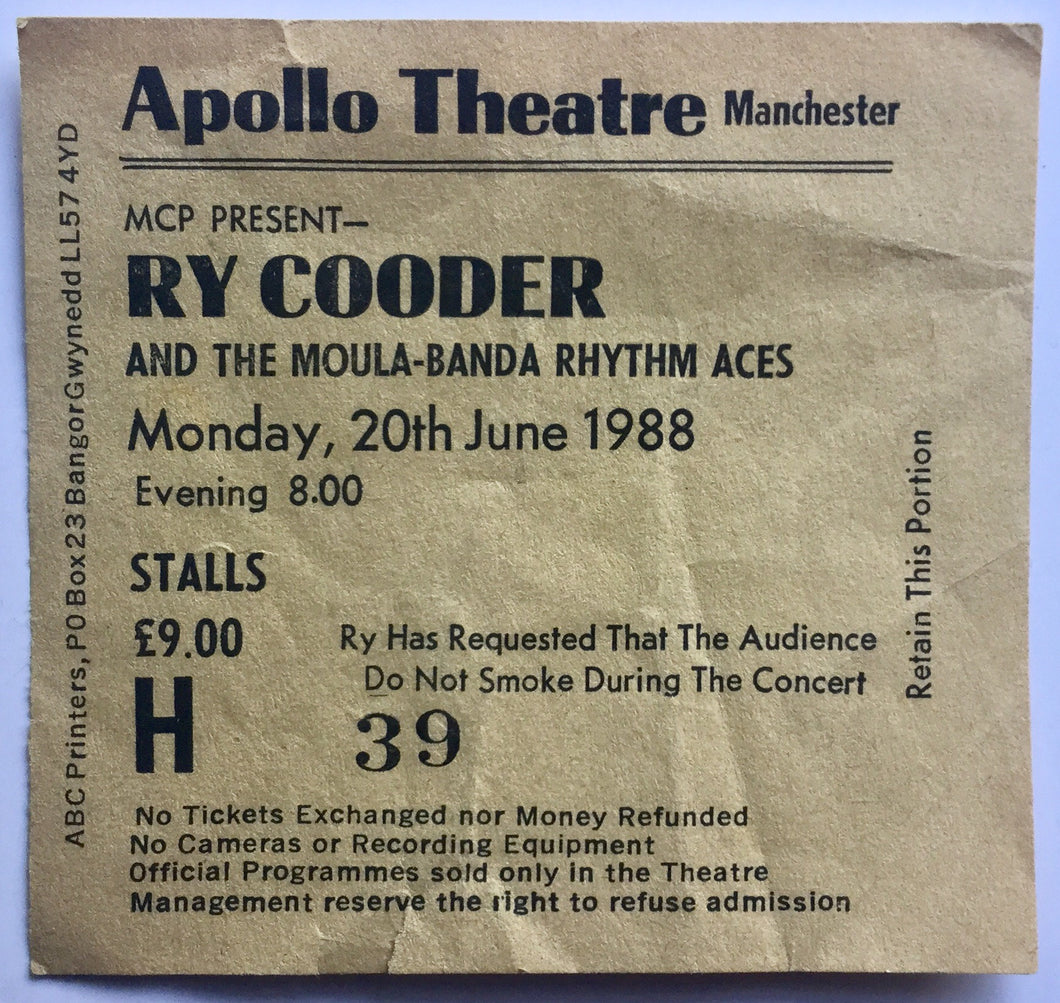 Ry Cooder Original Used Concert Ticket Apollo Theatre Manchester 20th June 1988