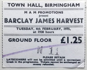 Barclay James Harvest Original Used Concert Ticket Town Hall Birmingham 4th Feb 1975