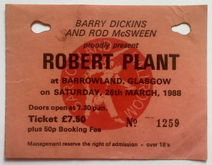 Led Zeppelin Robert Plant Original Used Concert Ticket Barrowlands Glasgow 26th Mar 1988