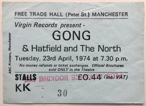 Gong Hatfield & The North Original Used Concert Ticket Free Trade Hall Manchester 23rd April 1974