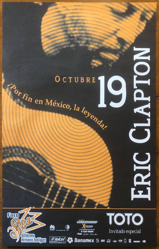 Eric Clapton Original Concert Tour Gig Poster Foro Sol Mexico City 19th Oct 2001