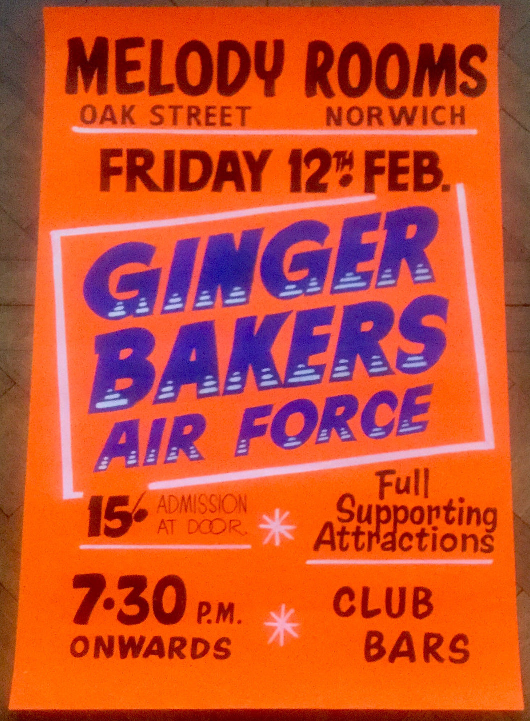Ginger Baker's Airforce Original Concert Tour Gig Poster Melody Rooms Norwich 12th Feb 1971