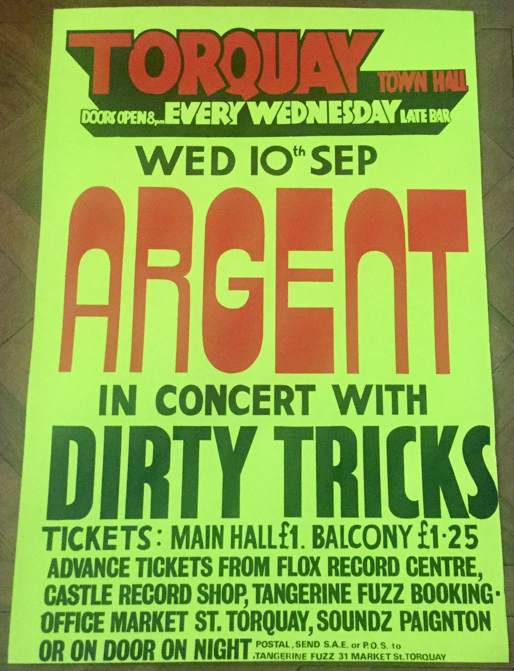 Argent Original Concert Tour Gig Poster Torquay Town Hall 10th Sept 1975