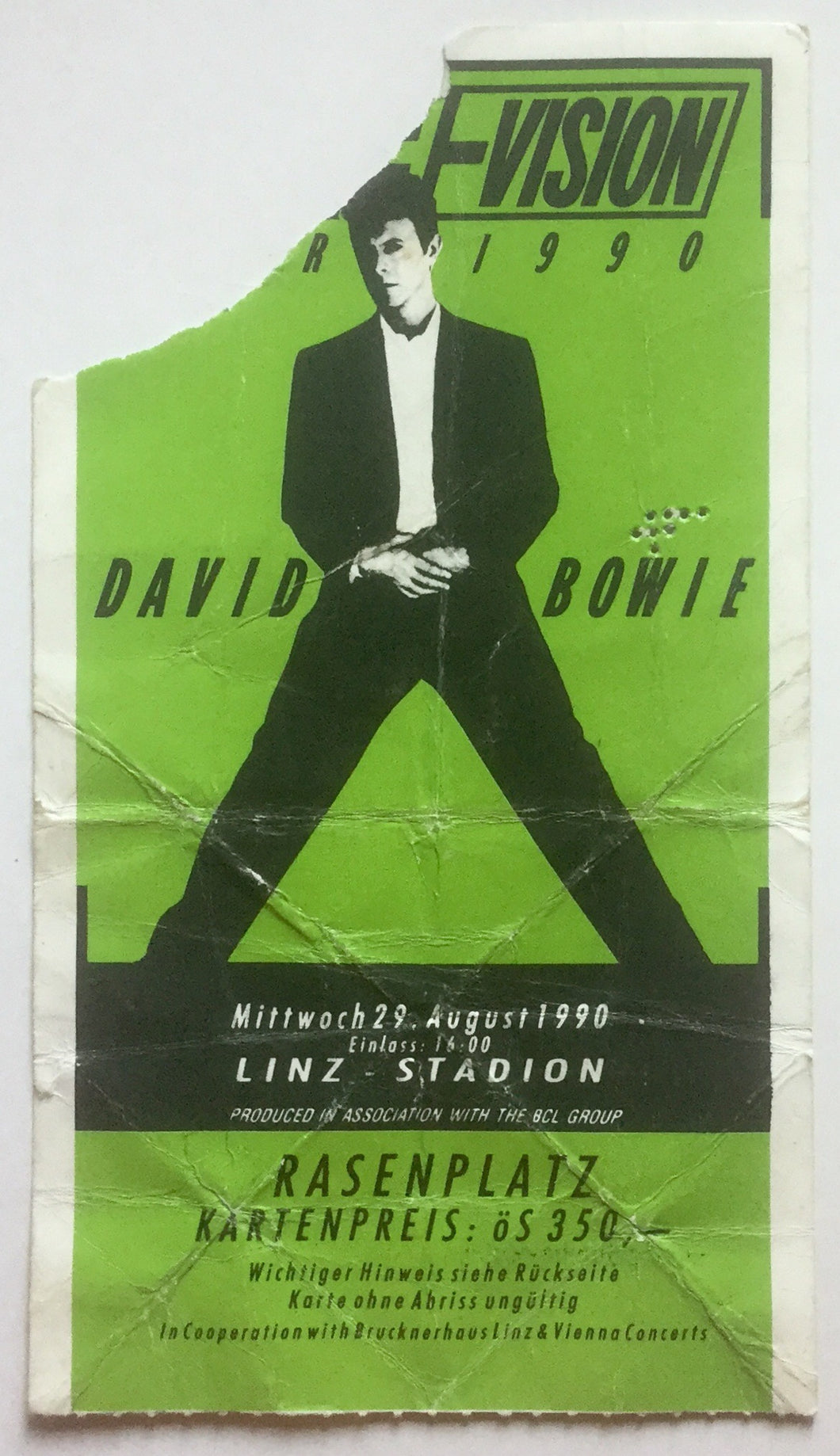 David Bowie Original Used Concert Ticket Linz Stadion 29th Aug 1990