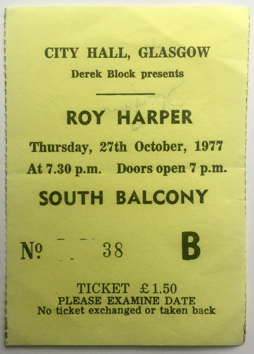 Roy Harper Original Used Concert Ticket City Hall Glasgow 27th Oct 1977