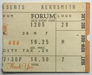 Aerosmith Original Used Concert Ticket The Forum Los Angeles 5th Dec 1975