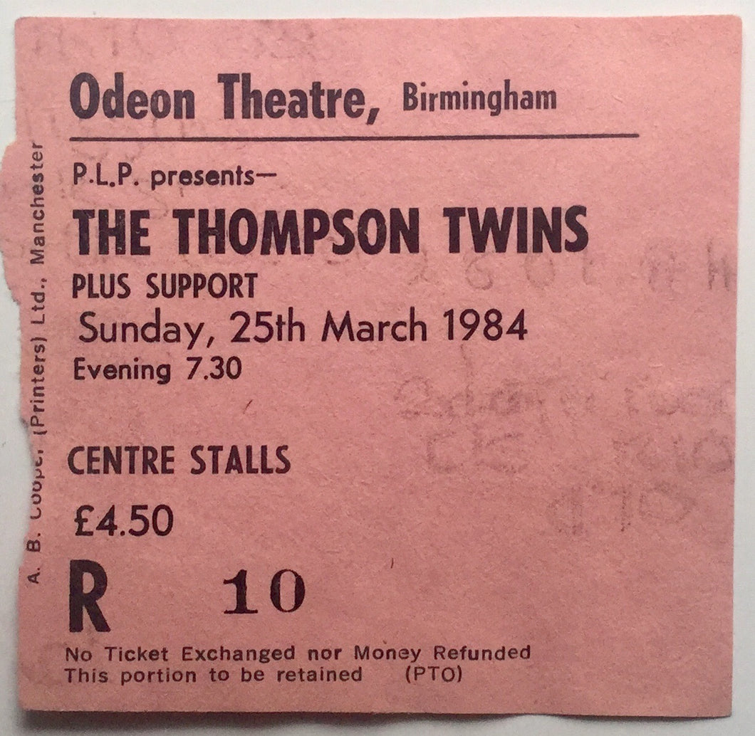 Thompson Twins Original Used Concert Ticket Odeon Theatre Birmingham 25th March 1984