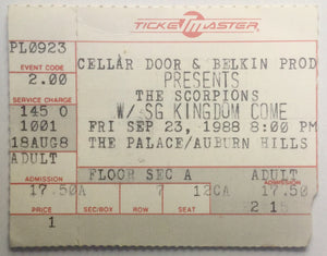 Scorpions Original Used Concert Ticket The Palace Auburn Hills 23rd Sept 1988