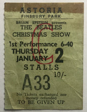 Load image into Gallery viewer, Beatles Original Used Concert Ticket Astoria Theatre, London 2nd Jan 1964