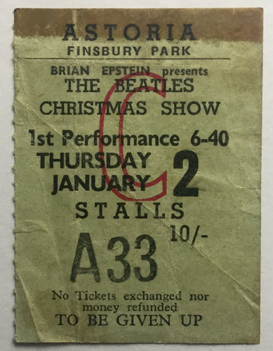 Beatles Original Used Concert Ticket Astoria Theatre, London 2nd Jan 1964